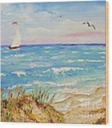 Sailing By The Beach Wood Print