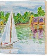 Sailing By The Bridge Wood Print