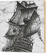 Sailing Drawing Pen And Ink In Black And White Wood Print by Mario Perez
