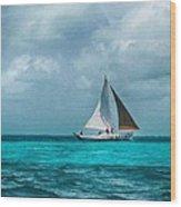 Sailing In Blue Belize Wood Print
