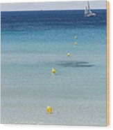 Son Bou Beach In South Coast Of Menorca Is A Turquoise Treasure - Sailing In Blue Wood Print