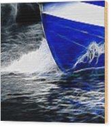 Sailing In Blue Wood Print
