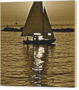 Sailing In Sepia Wood Print