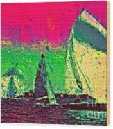 Sailing In Shimmer Wood Print
