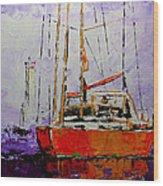 Sailing In The Mist Wood Print by Vickie Warner