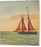 Sailing Into The Sun Wood Print