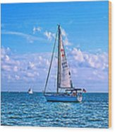 Sailing Off Of Key Largo Wood Print