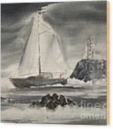 Sailing On A Grey Day Wood Print