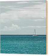 Sailing On A Turquoise Sea Wood Print by Jason Bartimus