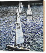 Sailing On Blue Wood Print