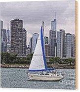 Sailing On Lake Michigan Wood Print