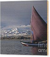Sailing Boat On Lake Titicaca Wood Print