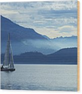 Sailing On Lake Zug Wood Print by Ron Sumners