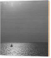 Sailing On Sunset Wood Print