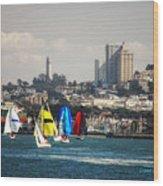 Sailing On The Bay Wood Print