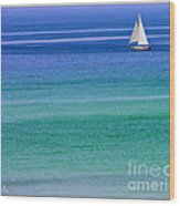 Sailing On Turquoise Blue Water Wood Print