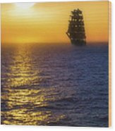 Sailing Out Of The Fog At Sunrise Wood Print