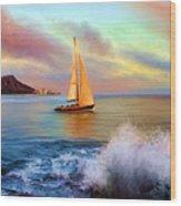 Sailing Past Waikiki Wood Print