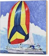 Sailing Primary Colores Spinnaker Wood Print