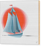 Sailing Red Sun Wood Print