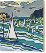 Sailing School Manchester by-the-sea Wood Print
