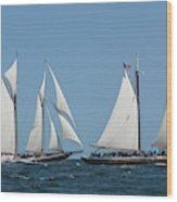 Sailing Ship In The Ocean At Gloucester Wood Print