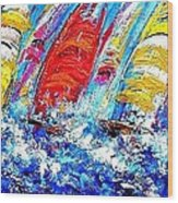 Sailing Ships In The Wind Wood Print
