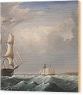 Sailing Ships Off The New England Coast Wood Print