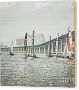 Sailing Sketch Photo Wood Print