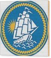 Sailing Tall Ship Galleon Retro Wood Print by Aloysius Patrimonio