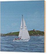 Sailing Through Dalkey Sound Wood Print