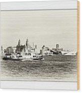 Sailing Up The Mersey Wood Print