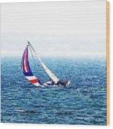 Sailing Vinyard Sound  Photo Art Wood Print