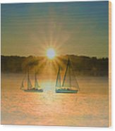 Sailing When The Sun Comes Up Wood Print