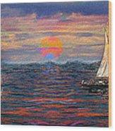 Sailing While Dreaming Wood Print