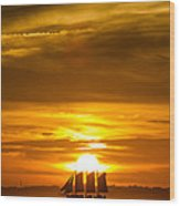 Sailing Yacht Schooner Pride Sunset Wood Print