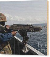 Sailor Fires A M240b Machine Gun Aboard Wood Print