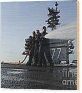 Sailors Conduct Hose Team Training Wood Print