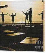 Sailors Exercise In The Hangar Bay Wood Print