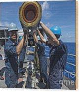 Sailors Load Rim-7 Sea Sparrow Missiles Wood Print