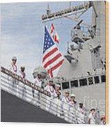 Sailors Man The Rails Aboard Uss Wood Print