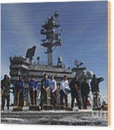 Sailors Participate In A Fight Deck Wood Print