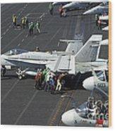 Sailors Push An Fa-18c Hornet Wood Print