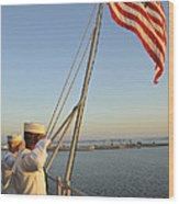 Sailors Salute The National Ensign Wood Print