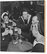 Sailors Toasting In Celebration Of Victory Wood Print