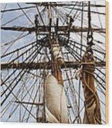 Sails Aboard The Hms Bounty Wood Print