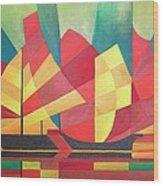 Sails And Ocean Skies Wood Print