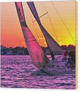 Sails At Dusk Wood Print
