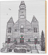 Saint Bridget's Church At Christmas Wood Print by Michelle Welles