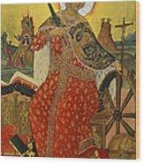 Saint Catherine Of Alexandria Icon Wood Print